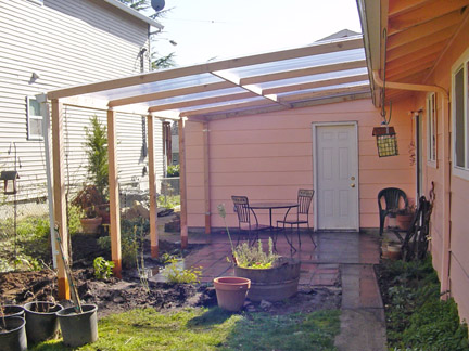 Patio Cover. 4x4 Posts, And Attached To Roof.. PVC Corrugated Panels And  Aluminum Gutter And Downspout
